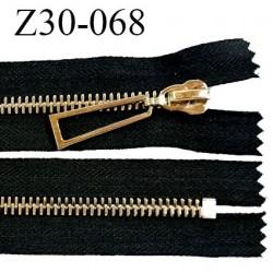 Fermeture zip 30 cm non séparable couleur noir longueur 30 cm largeur 4 cm glissière métal couleur or prix à l'unité
