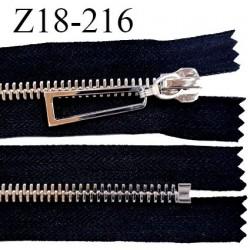 Fermeture zip 18 cm non séparable couleur noir longueur 18 cm largeur 4 cm glissière métal couleur argent prix à l'unité