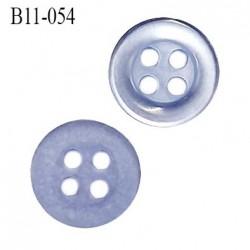 Bouton 11 mm en pvc 4 trous couleur bleu diamètre 11 mm épaisseur 2 mm prix à la pièce