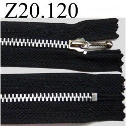 fermeture éclair longueur 20 cm couleur noir non séparable zip métal alu largeur 2.8 cm largeur du zip 4 mm