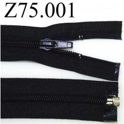 fermeture  éclair  longueur 75 cm couleur noir non séparable zip nylon largeur 3,2 cm largeur de la glissière 6 mm