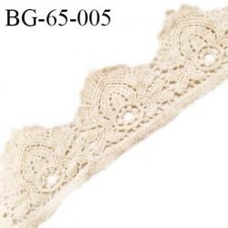 Ruban guipure 65 mm crochet couleur beige largeur 65 mm prix au mètre