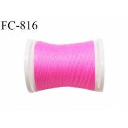 Bobine de 500 m fil mousse polyamide n° 120 couleur rose fluo longueur de 500 mètres bobiné en France