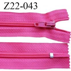 Fermeture zip 22 cm à glissière couleur rose fuschia non séparable zip nylon largeur du zip 6 mm longueur 22 cm prix à l'unité
