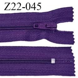 Fermeture zip 22 cm à glissière couleur violet indigo non séparable zip nylon largeur du zip 6 mm longueur 22 cm prix à l'unité