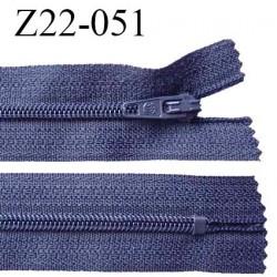 Fermeture zip 22 cm à glissière couleur bleu gris non séparable zip nylon largeur du zip 6 mm longueur 22 cm prix à l'unité