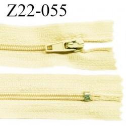Fermeture zip 22 cm couleur jaune pastel ou beige non séparable zip nylon largeur du zip 6 mm longueur 22 cm prix à l'unité