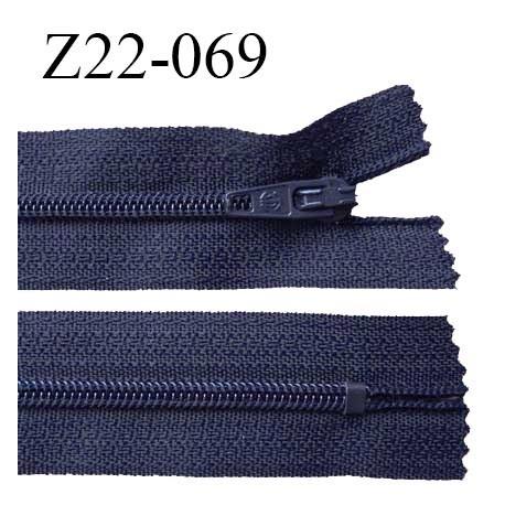 Fermeture zip 22 cm à glissière couleur bleu marine non séparable zip nylon largeur du zip 6 mm longueur 22 cm prix à l'unité