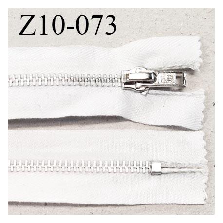 Fermeture zip 10 cm couleur blanc longueur 10 cm largeur 2.7 cm non séparable glissière métal largeur 5 mm prix à l'unité