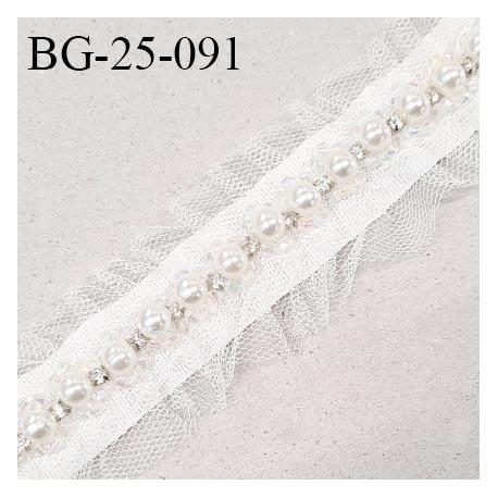 Galon ruban 25 mm gros grain avec perles et tulle couleur naturel largeur 25 mm prix au mètre