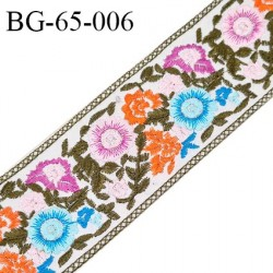 Galon ruban 65 mm à coudre sur vinyle doux transparent broderie multicolore largeur 65 mm prix au mètre