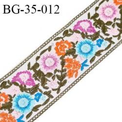 Galon ruban 35 mm à coudre sur vinyle doux transparent broderie multicolore largeur 35 mm prix au mètre
