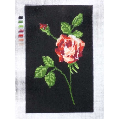 Canevas à broder 20 x 30 cm thème FLEUR LA ROSE retouché main