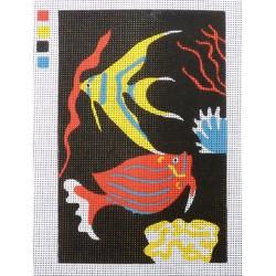 Canevas à broder 20 x 30 cm thème LES POISSONS création Roxane retouché main