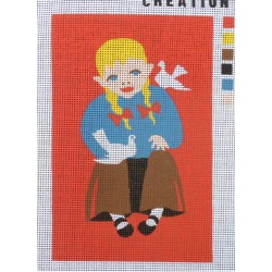 Canevas à broder 20 x 30 cm thème FILLETTE création Roxane retouché main
