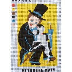 Canevas à broder 20 x 30 cm thème HOMME création Roxane retouché main