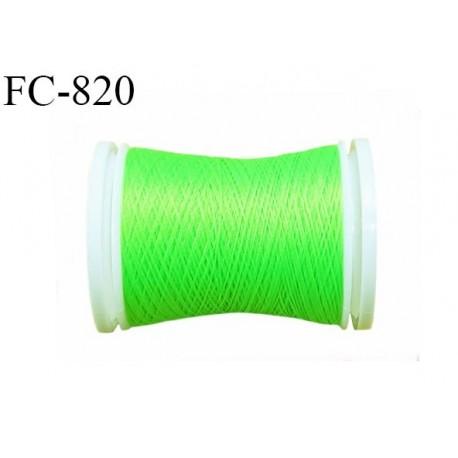 Bobine de 500 m fil mousse polyamide n° 120 couleur vert fluo longueur de 500 mètres bobiné en France