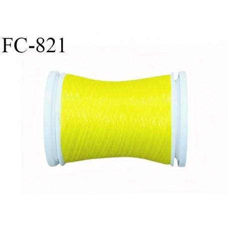 Bobine de 500 m fil mousse polyamide n° 120 couleur jaune citron longueur de 500 mètres bobiné en France