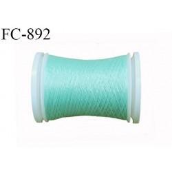 Bobine de 500 m fil mousse polyamide n° 120 couleur vert lagon longueur de 500 mètres bobiné en France