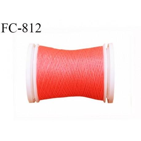 Bobine 500 m fil mousse polyamide n° 120 couleur corail fluo longueur de 500 mètres bobiné en France