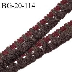 Galon frange 20 mm couleur marron et bordeaux largeur de la bande 6 mm + 14 mm de franges prix au mètre