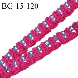 Galon frange 15 mm couleur rose et bleu largeur de la bande 5 mm + 10 mm de franges prix au mètre