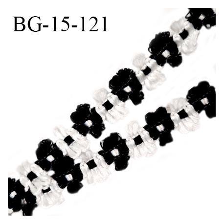 Galon ruban 15 mm à fleurs couleur blanc et noir diamètre des fleurs 15 mm prix au mètre