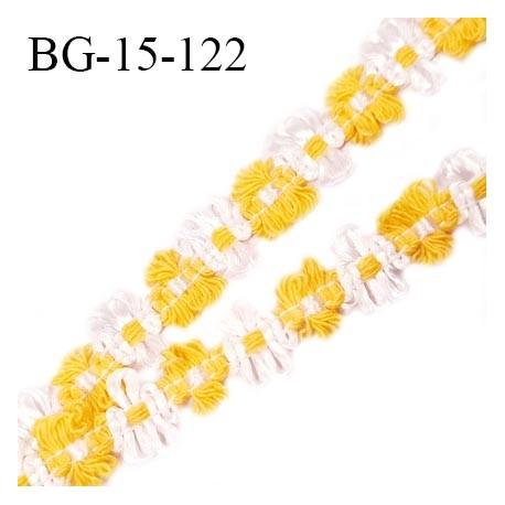 Galon ruban 15 mm à fleurs couleur blanc et jaune diamètre des fleurs 15 mm prix au mètre