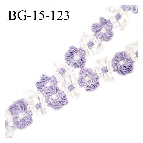 Galon ruban 15 mm à fleurs couleur blanc et lilas diamètre des fleurs 15 mm prix au mètre