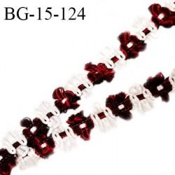 Galon ruban 15 mm à fleurs couleur blanc marron rouge diamètre des fleurs 15 mm prix au mètre