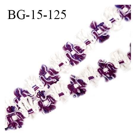 Galon ruban 15 mm à fleurs couleur blanc et violet diamètre des fleurs 15 mm prix au mètre