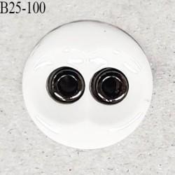 Bouton 25 mm en pvc couleur naturel et chrome 2 trous diamètre 25 mm épaisseur 4.5 mm prix à la pièce