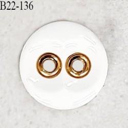Bouton 22 mm en pvc couleur naturel et doré 2 trous diamètre 22 mm épaisseur 4.5 mm prix à la pièce