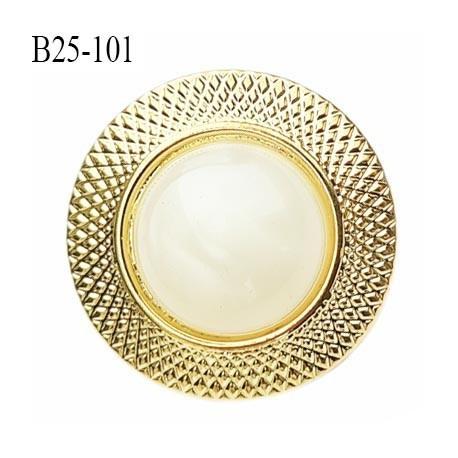 Bouton 25 mm pvc couleur nacre et or accroche avec un anneau diamètre 25 mm prix à la pièce