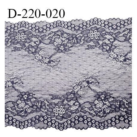 Dentelle 21 cm lycra extensible motif fleuri haut de gamme largeur 21 cm couleur gris bleuté ou graphite prix au mètre