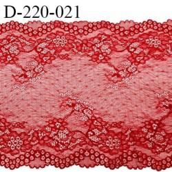 Dentelle 22 cm lycra extensible motif fleuri haut de gamme largeur 22 centimètres couleur rouge très belle et fine prix au mètre