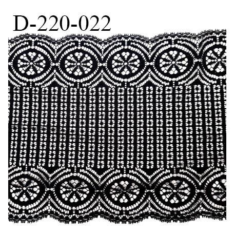 Dentelle 22 cm lycra extensible très haut de gamme largeur 22 cm couleur noir fabriqué en France bandes jacquard prix au mètre