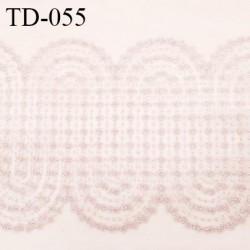 Dentelle 32 cm brodée sur tulle extensible couleur gris rosé haut de gamme douce largeur 32 cm prix pour 10 cm de longueur