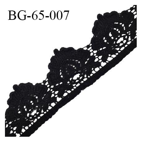 Ruban guipure 65 mm crochet couleur noir largeur 65 mm prix au mètre