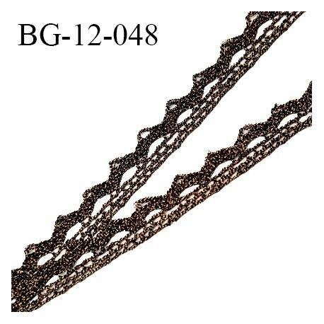Galon ruban style dentelle lurex couleur noir et or largeur 12 mm prix au mètre