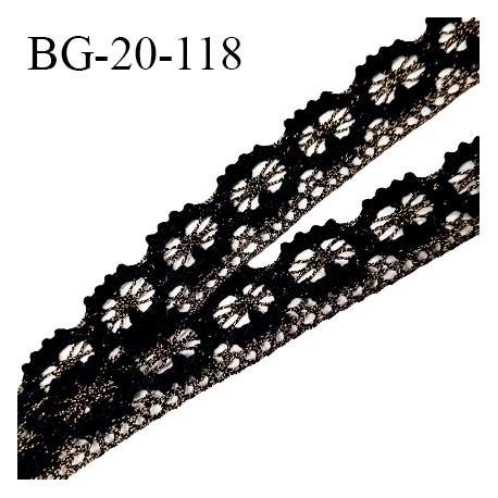 Galon ruban style dentelle lurex couleur noir et or largeur 20 mm prix au mètre