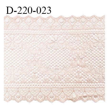 Dentelle 22 cm lycra brodée extensible très haut de gamme largeur 22 cm bandes jacquard couleur beige ou opaline prix au mètre