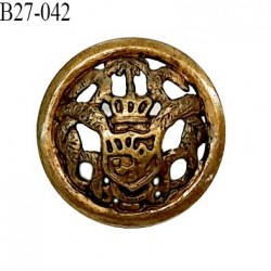 Bouton 27 mm pvc couleur laiton vieilli motif style blason accroche avec un anneau diamètre 27 mm épaisseur 5 mm prix à la pièce