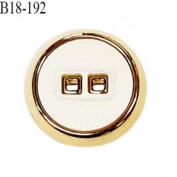 Bouton 18 mm en pvc couleur naturel et doré 2 trous diamètre 18 mm épaisseur 5 mm prix à la pièce