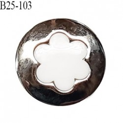 Bouton 25 mm en pvc couleur blanc sur socle couleur chrome accroche avec un anneau diamètre 25 mm prix à l'unité