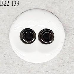 Bouton 22 mm en pvc couleur naturel et chrome 2 trous diamètre 22 mm épaisseur 4.5 mm prix à la pièce