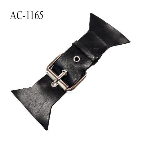 Brandebourg patte simili cuir couleur noir et boucle métal couleur chrome longueur 14 cm hauteur 6.5 cm prix à l'unité