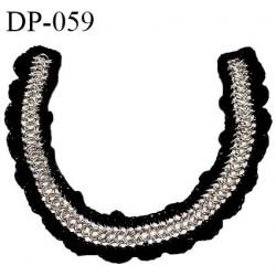 Devant plastron chaine couleur argent sur crochet couleur noir longueur 40 cm prix à l'unité