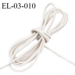 Elastique cordon 3 mm couleur naturel lumineux tirant sur le gris diamètre 3 mm prix au mètre