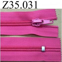 fermeture  éclair  longueur 35 cm couleur rose fushia non séparable zip nylon largeur 3,2 cm largeur du zip 6 mm curseur métal